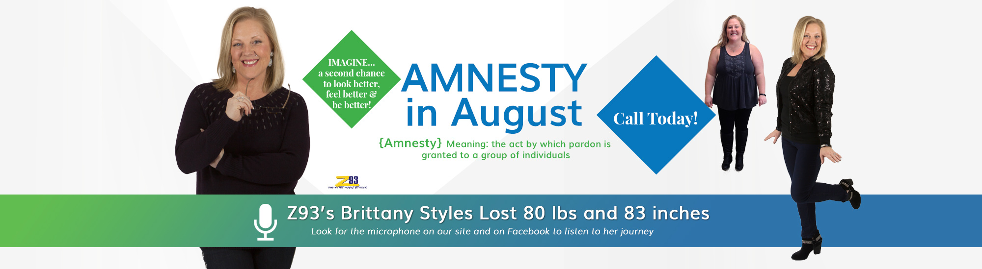 Amnesty in August! A second Chance to Look, Feel and Be Better. Call today for specials to get back on your weight loss goals and plans.